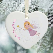 Fairy Ceramic Heart - Personalised Christmas Tree Decoration